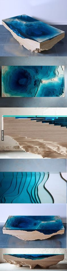 Designer Table inspired by a topographical view of an ocean