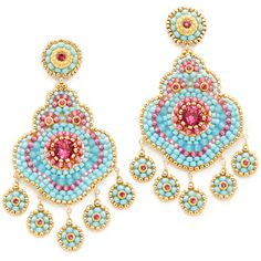 Miguel Ases Miguel Ases Dani Earrings - Blue/Red Multi (12 380 UAH) ❤ liked on Polyvore featuring jewelry, earrings, blue earrings, red jewelry, swarovski crystal earrings, beaded earrings and drop earrings