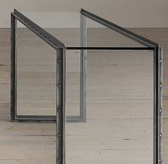 Waterfall Glass & Iron Console Table