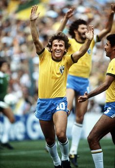 1982 World Cup Finals. Second Phase. Barcelona, Spain. 2nd July, 1982. Brazil 3 v Argentina 1. Brazil's Zico celebrates scoring his side's first goal