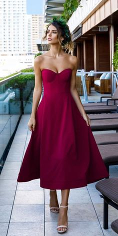 hochzeitsgast satin A-Line Sweetheart Tea Length Burgundy Satin Prom Party Dress Trendy Dresses, Sexy Dresses, Evening Dresses, Winter Dresses, Elegant Dresses, Dresses Dresses, Dresses Online, The Dress, Dress For You