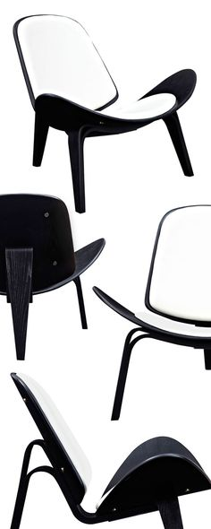 Get the most from your seating experience with this bold Wings Chair. With its rich black-finished framing, curved silhouette, and plush leather-upholstered cushioning, this chair ranks high above the ...  Find the Wings Chair in Black and Leather, as seen in the The Dark Side of Mid-Century Collection at http://dotandbo.com/collections/the-dark-side-of-mid-century?utm_source=pinterest&utm_medium=organic&db_sku=116424