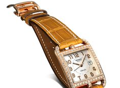 Hermes Cape Cod Watch Rose Gold Brown Leather