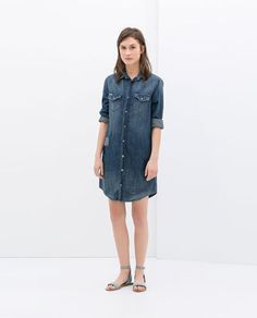 PATCHED DENIM SHIRT DRESS