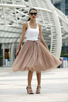 f7ff6fbcd6 Tulle Skirt Tea length Tutu Skirt Elastic Waist tulle tutu Princess Skirt  Wedding Skirt in Nude Color-