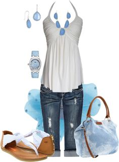 blue and white, created by johnna-cameron on Polyvore