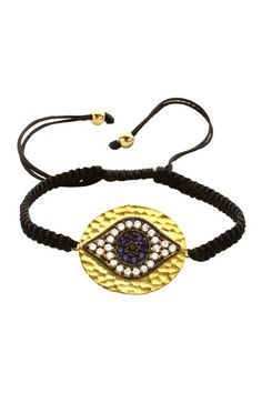 1762478a2f8 Essence of Inspiration Macrame CZ Evil Eye Hammered Disc Bracelet Just  Dance
