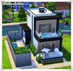 Casa Amadeirada Contêiner - The Sims 4 ( no cc ) The Sims 4 Houses, Sims 3 Houses Ideas, Sims 2 House, Sims 4 House Plans, Sims 4 House Building, Sims 4 House Design, Home Design, Sims Ideas, Build House