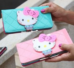Women Female Bow Fashion Designer Hello Kitty Leather Long Wallet Zippered Purse