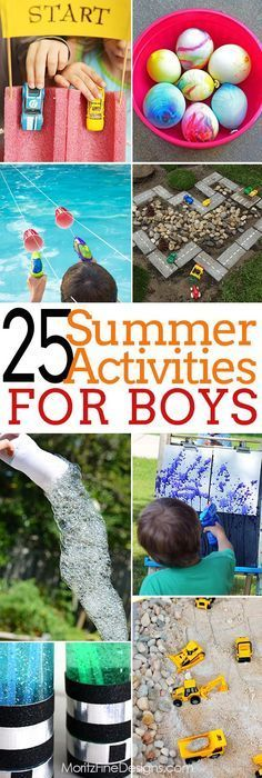 Over 25 Summertime Activities for Boy Of All Ages This summer keep your boys busy with this amazing list of 25 summer activities for boys of all ages--includes both indoor and outdoor activities. Outdoor Activities For Kids, Craft Activities, Toddler Activities, Games For Kids, Outdoor Games, Backyard Games, Kids Summer Activities, Water Activities, Outdoor Play For Toddlers