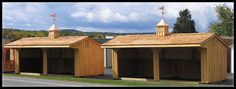 Twin Run-In Sheds with Overhangs  http://www.woodtex.com/barns-and-run-in-sheds.asp