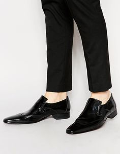 Loafers by Jeffery West Patent leather upper Slip-on style Classic brogue detailing Slim shaped toe Flat sole Treat with a leather protector 100% Real Leather Upper