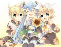 Vocaloid Miku, Rin and Len. Art is cute :3