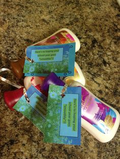 "Welcome back to the New Year for my staff ... hope the New Year goes ""smoothly"" tag on hand lotion."