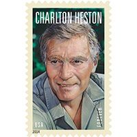 Charlton Heston appeared in 100 films in a career that spanned over sixty years. Charlton Heston is the stamp in the Legends of Hollywood series. This stamp pictures a color portrait by movie artist Drew Struzan. Dundee, Commemorative Stamps, Postage Stamp Art, Hollywood, Planet Of The Apes, Classic Films, Stamp Collecting, Portraits, Portrait Art