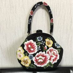 美品 ビーズ バッグ  レトロ アンティーク 総ビーズ 和装 着物 花