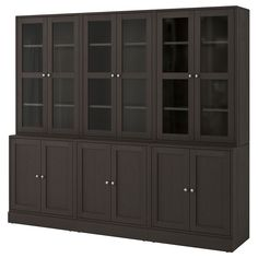 IKEA HAVSTA Storage combination w glass-doors Dark brown 243 x 212 x 47 cm Made of wood from sustainable sources. Glass Cabinet Doors, Sliding Glass Door, Glass Doors, Sliding Doors, Scandinavian Furniture, Scandinavian Design, Plastic Foil, Tempered Glass Shelves, White Stain