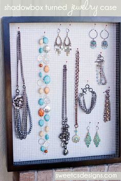 Love this shadowbox turned jewelry case :) @Courtney Baker Baker O'Dell