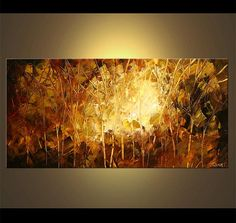 """Landscape Blooming Trees Painting Brown, Rust, Original Abstract Modern Palette Knife Painting by Osnat - MADE-TO-ORDER - 48""""x24"""""""