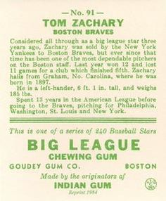 1983 Galasso 1933 Goudey Reprint #91 Tom Zachary Back