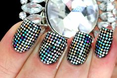 Polish All the Nails: New Years Eve Nails with Sparkly Silver Holo Squares!