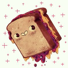Cute little foods (This will update periodically. Please scroll down to see latest updates! Cute Illustration, Character Illustration, Sandwich Drawing, Pb And J Sandwiches, Chibi Food, Food Drawing, Disney Drawings, Food Illustrations, Cute Food