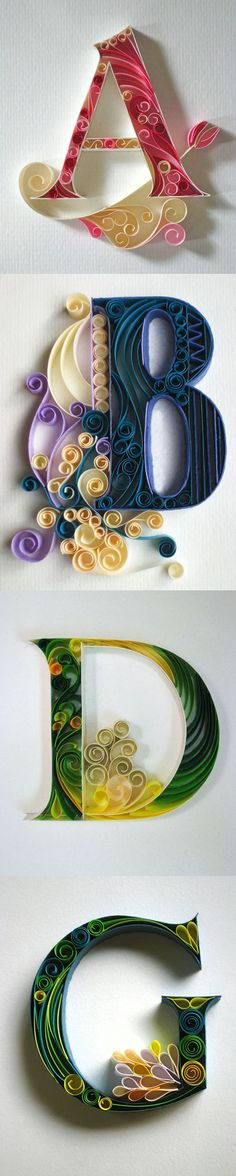I love the combination of quilling and typography! Don't know if I'd be patient enough to try but it's on my list. Arte Quilling, Paper Quilling, Quilling Letters, Typography Inspiration, Typography Design, Flower Typography, Typography Alphabet, Diy And Crafts, Arts And Crafts