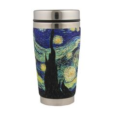 This handy travel mug features a graphic inspired by Vincent van Gogh's well-known painting, Starry Night. The mug can be used to keep beverages hot or cold.