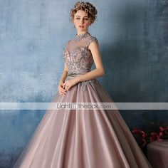 Do not love this dress, but love the color and silver lace accents Evening Dress - Pearl Pink Ball Gown
