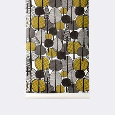 Gracewood - Ferm Living Wallpapers - This modern Scandinavian wallpaper has a stylish look to its tree shaped designs with a combination of curry,black and grey colours. Please request a sample for true colour match. Paste-the-wall product. Ferm Living Wallpaper, Modern Wallpaper, Wall Wallpaper, Designer Wallpaper, Wallpaper Designs, Wallpaper Ideas, Shape Design, Pattern Design, Wall Design