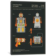 "East Urban Home 'Sid Noble (Ideal Toy Corporation) Toy Robot (""Robert the Robot) Patent' Graphic Art Print on Canvas Size:"