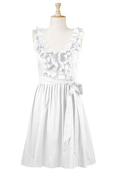 ruffle front poplin dress. in white. I LOVE this. not sure why...