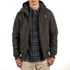 The Volcom Hernan water-resistant jacket has a Teflon EcoElite finish and is made with renewable materials. Shop this hooded jacket online today. Skateboard Store, Skateboard Fashion, Vest Jacket, Hooded Jacket, Rain Jacket, Streetwear Jackets, Jackets Online, Windbreaker, Street Wear