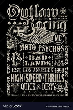 Outlaw Racing vintage poster t-shirt graphic Vector Image by krookedeye
