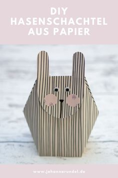 DIY (Oster-)Hasenschachtel aus Papier mit Download-Vorlage Origami, Diy Ostern, Printables, Crafty, Animals, Craft, Paper Mill, Natural Colors, Stocking Stuffers