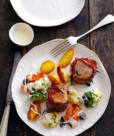 Schweinefilet mit Gemüse und Zitronen-Béchamel