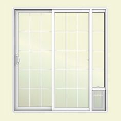 JELD WEN 72 In. X 80 In. V2500 White Vinyl Prehung Left Hand 15 Lite Sliding  Patio Door With Medium Pet Door