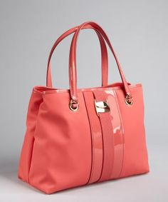 style #326067301 light rose patent leather trimmed nylon 'Leonora' tote