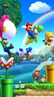 This would make a good phone bg! This would make a good phone bg! Mundo Super Mario, Super Mario Nintendo, Super Mario Games, Super Mario World, Wallpaper Nintendo, Cartoon Wallpaper, Iphone Wallpaper, Super Mario Brothers, Super Mario Bros