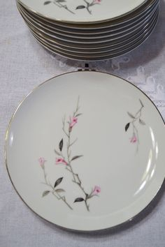Vintage Cherry Blossom Salad Dessert Plate Set of 10 Pink Flower Gray Stem Fine China of Japan Wedding Baby Shower PanchosPorch Antique Dishes, Vintage Dishes, Antique China, Vintage China, Vintage Kitchen, Modern Dinnerware, Vintage Dinnerware, Dessert Aux Fruits, Vintage Pottery