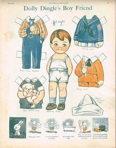Three Uncut Pages of Vintage Dolly Dingle Paper Dolls!