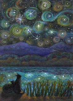 Original aceo painting * starry night * TW Sep * cat art by kathe soave