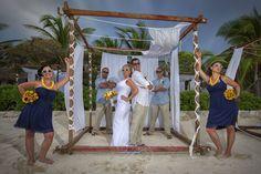 Beach Bridal Party Poses Let Custom Memories Travel plan your dream destination wedding today!