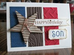 I like the different textures.  Could use a different sentiment for a patriotic card