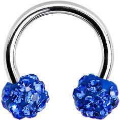 16 Gauge Blue Crystal Ferido Ball Horseshoe Circular Barbell | Body Candy Body Jewelry