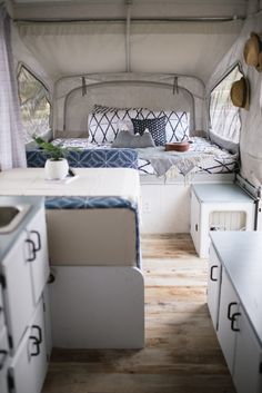 Pop Up Camper Renovation Camping has reinvented itself and has become more de… Pop Up Tent Trailer, Trailer Decor, Living In A Trailer, Tent Trailer Camping, Rv Living, Popup Camper Remodel, Camper Renovation, Small Pop Up Camper Remodel, Camper Remodeling