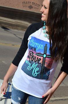 New Crazy Train Clothing Carrying Your Love Cross Baseball Shirt Small to 3XL #CrazyTrain #Raglan #Any