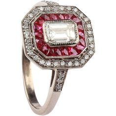 Preowned A Fine Ruby Diamond Cluster Ring ($5,700) ❤ liked on Polyvore featuring jewelry, rings, multiple, band rings, emerald cut ruby ring, band jewelry, pre owned jewelry and 18 karat gold ring