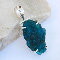 Apatite Rough Pendant Necklace -Prong Set Pendant -One of Kind Healing-Rough Apatite Jewelry-925 Sterling silver Necklace-Raw Apatite Gift by 925silverArt on Etsy