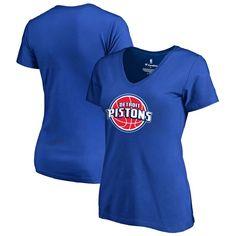 Detroit Pistons Women's Team Essential V-Neck T-Shirt - Royal